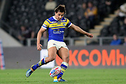 Leeds Rhinos full back Ashton Golding (1) kicks a conversion kick during the Betfred Super League match between Hull FC and Leeds Rhinos at Kingston Communications Stadium, Hull, United Kingdom on 19 April 2018. Picture by Mick Atkins.