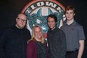 KELOWNA, CANADA - JANUARY 21:  Jeff & Carley Joyce with James Porter & Wil Kushniryk at the Kelowna Rockets Billet Dinner on January 21, 2018 at Prospera Place in Kelowna, British Columbia, Canada.  (Photo By Cindy Rogers/Nyasa Photography,  *** Local Caption ***