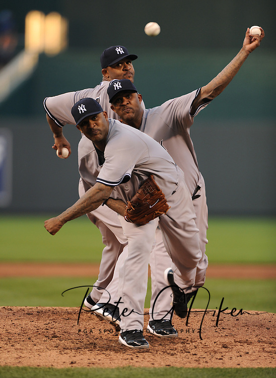 Photo Illustration -- New York Yankees pitcher C.C. Sabathia (52) delivers a pitch during the third inning against the Kansas City Royals at Kauffman Stadium.