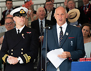 Henley on Thames, England, United Kingdom, 7th July 2019, Henley Royal Regatta, Speeches, left Lt Commander, Pete REED, RN., right, Regatta Chairman Sir Steven REDGRAVE Prize Giving ceremony,  Henley Reach, [© Peter SPURRIER/Intersport Image]<br /> <br /> 17:15:21 1919 - 2019, Royal Henley Peace Regatta Centenary,