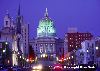 PA Capitol, Harrisburg, PA, Architect Joseph Huston, State Street West, Historically Authentic, Night Lights