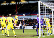 Overhead kick from Dundee's David Clarkson which was cleared off the line by St Mirren's Jim Goodwin (6) - Dundee v St Mirren, SPFL Premiership at <br /> Dens Park<br /> <br />  - &copy; David Young - www.davidyoungphoto.co.uk - email: davidyoungphoto@gmail.com