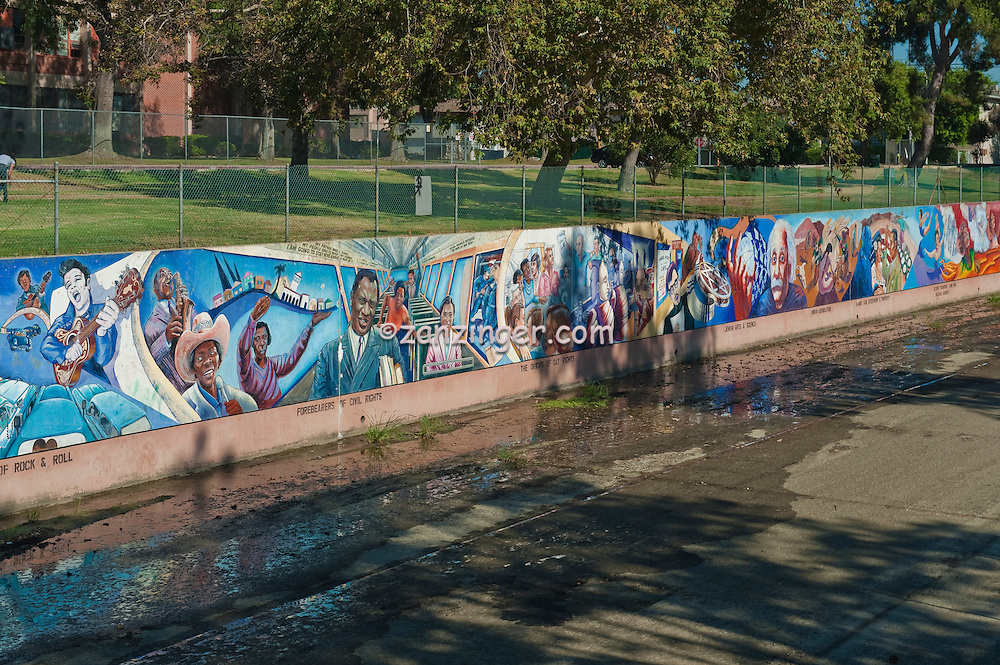 """""""California from earliest pre-history through the 1960s"""" Great Wall Mural, Los Angeles, CA; San Fernando; Valley; Tujunga Wash; sub watershed,  California;"""
