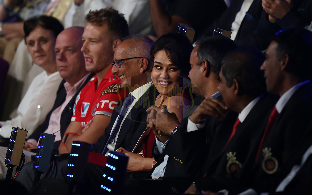 Preity Zinta owner of Kings XI Punjab during the opening night of the Vivo Indian Premier League ( IPL ) 2016  held at The Dome in Mumbai, India on the 8th April 2016<br /> <br /> Photo by Sandeep Shetty/ IPL/ SPORTZPICS
