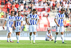 12.09.2015, Wildparkstadion, Karlsruhe, GER, Karlsruher SC vs 1. FC Union Berlin, 6. Runde, im Bild Yili Sallahi (Karlsruher SC), Manuel Torres (Karlsruher SC), Dimitrij Nazarov (Karlsruher SC) und Jan Mauersberger (Karlsruher SC) alle mit haengenden Koepfen // during the 2nd German Bundesliga 6th round match between Karlsruher SC and 1. FC Union Berlin at the Wildparkstadion in Karlsruhe, Germany on 2015/09/12. EXPA Pictures © 2015, PhotoCredit: EXPA/ Eibner-Pressefoto/ Neis<br /> <br /> *****ATTENTION - OUT of GER*****