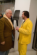 MANOLO BLAHNIK and MARC NEWSON, Exhibition of work by Marc Newson at the Gagosian Gallery, Davies st. London. afterwards at Mr. Chow, Knightsbridge. 5 March 2008.  *** Local Caption *** -DO NOT ARCHIVE-© Copyright Photograph by Dafydd Jones. 248 Clapham Rd. London SW9 0PZ. Tel 0207 820 0771. www.dafjones.com.
