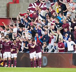 Hearts Kyle Lafferty celebrates scoring his side's first goal of the game during the Ladbrokes Scottish Premiership match at Tynecastle Stadium, Edinburgh.