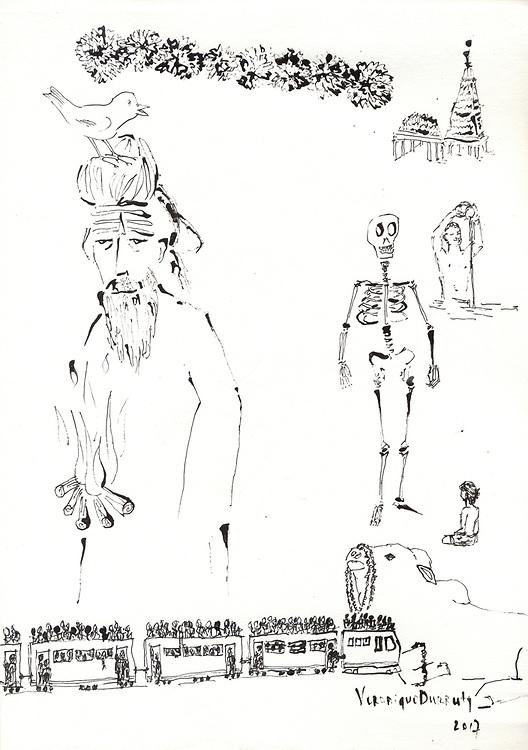 Benares<br /> oeuvre originale livre  &quot;Mondes Indiens&quot; ( Editions de la Martini&egrave;re )<br /> Veronique Durruty, 2017<br /> encre de chine sur papier<br /> 21 cm x 30 cm<br /> <br /> encre de Chine sur papier 21 cm x 30 cm, V&eacute;ronique Durruty 2017<br /> Original de l'ouvrage &quot;Mondes Indiens&quot;, aux &eacute;ditions de la Martiniere <br /> 150 euros
