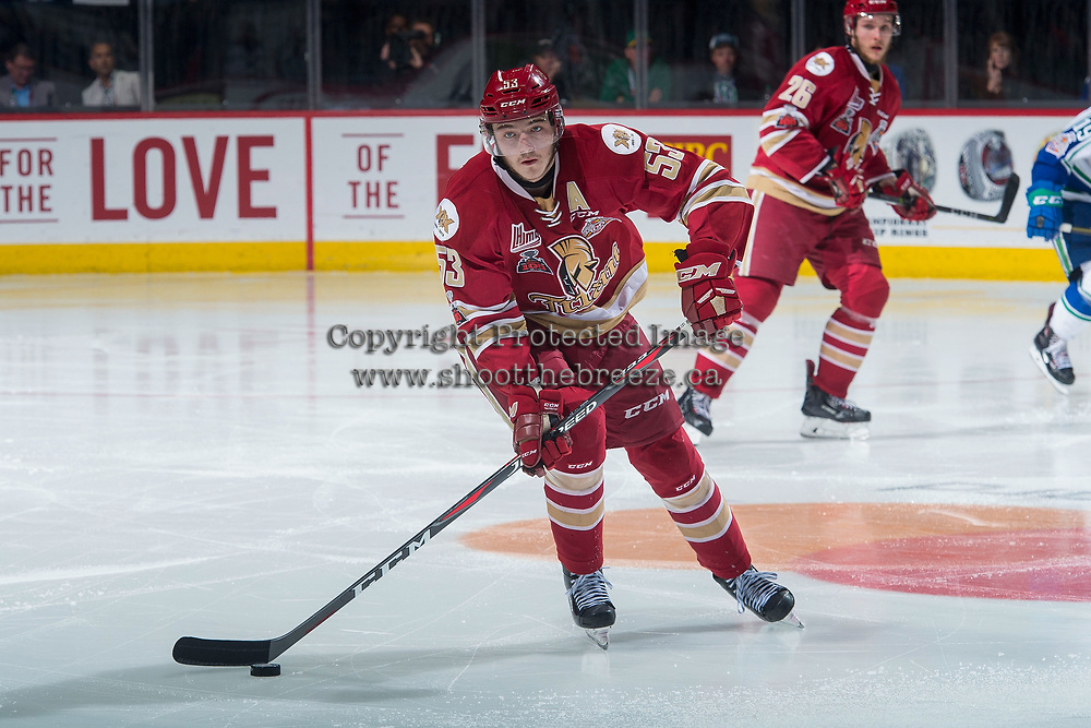 REGINA, SK - MAY 19: Noah Dobson #53 of Acadie-Bathurst Titan passes the puck against the Swift Current Broncos at the Brandt Centre on May 19, 2018 in Regina, Canada. (Photo by Marissa Baecker/CHL Images)