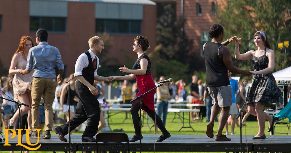 Involvement Fair on Foss Field at PLU on Friday, Sept. 11, 2015. (Photo: John Froschauer/PLU)