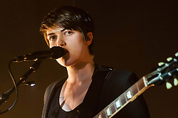 "© Licensed to London News Pictures. 16/12/2012. London, UK.   Romy Madley Croft of The XX performing live at O2 Academy Brixton. The xx are an English indie band, formed in London in 2008.  In 2010, the band won the Mercury Music Prize for their debut album, xx.  The band is composed of Romy Madley Croft (vocals, guitar),  Oliver Sim (vocalis, bass) , and .Jamie ""Jamie XX"" Smith (percussion, producer). Photo credit : Richard Isaac/LNP"