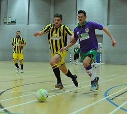 Gloucestershire Futsal and BCFC Futsal jostle for possession. - Photo mandatory by-line: Nizaam Jones - Mobile: 07966 386802 - 08/02/2015 - SPORT - Football - Gloucestershire - GL1 Leisure Centre - Gloucestershire Futsal v BCFC Futsal - Futsal