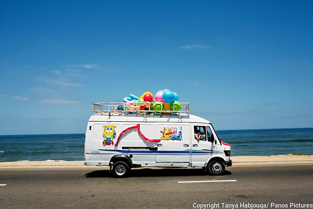 Toy delivery van on Gaza Beach Highway.