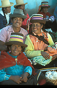 Smiling Quechua Indians at market in Yungay in the Andes, Peru.