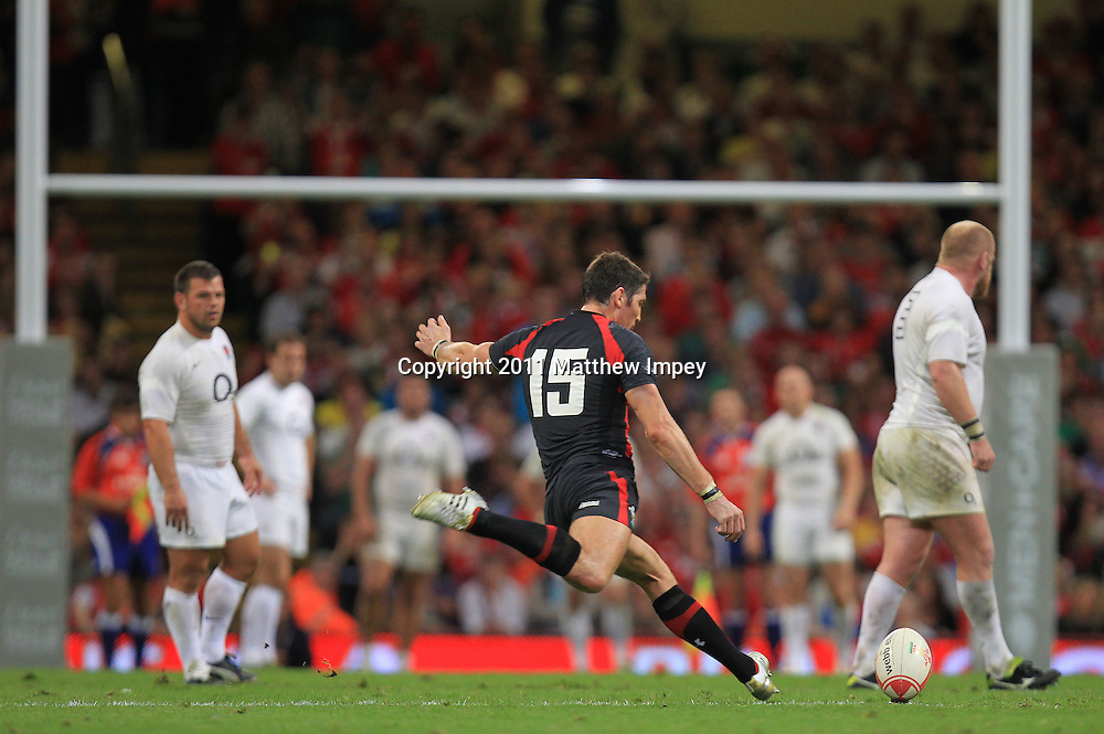 James Hook seals the victory for Wales with a long range penalty. Wales v England, Millennium Stadium, Cardiff, Rugby Union, 12/08/2011 © Matthew Impey/Wiredphotos.co.uk. tel: 07789 130 347 email: matt@wiredphotos.co.uk