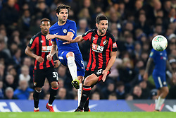December 20, 2017 - London, Greater London, United Kingdom - Chelsea Midfielder Cesc Fabregas clears from Bournemouth's Andrew Surman during the Carabao Cup Quarter - Final match between Chelsea and AFC Bournemouth at Stamford Bridge, London, England on 20 Dec 2017. (Credit Image: © Kieran Galvin/NurPhoto via ZUMA Press)