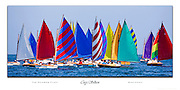 The Rainbow Fleet is Nantucket's pot of gold! These brightly colored micro-yachts add spirit and pulse to the annual Opera House Cup classic boat regatta. <br /> Canon EOS 1Ds Mark III camera with 500mm lens.