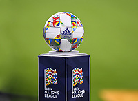 FUSSBALL UEFA Nations League in Muenchen Deutschland - Frankreich       06.09.2018 Adidas Spielball der UEFA Nations League --- DFB regulations prohibit any use of photographs as image sequences and/or quasi-video. ---