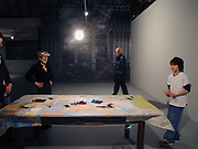 Yoko Ono and Oscar Prentis, , Yoko Ono, Odyssey of a cockroach, ICA East, Wharf Rd. 4 February 2004. © Copyright Photograph by Dafydd Jones 66 Stockwell Park Rd. London SW9 0DA Tel 020 7733 0108 www.dafjones.com