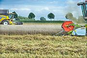 Nederland, Millingen, 7-8-2017Een veld met tarwe, graan wordt door een combine geoogst. Tarweveld, graanveld.Het perceel ligt aan de grens met duitsland en wordt geoogst door een Duits bedrijf, duitse loonbedrijfFoto: Flip Franssen