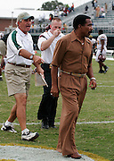 Bethune-Cookman head coach Alvin Wyatt refuses to shake Norfolk State head coach Pete Adrian's hand after their 63-61 four overtime victory at Dick Price Stadium in Norfolk, Virginia.  September 24, 2005  (Photo by Mark W. Sutton)