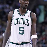 06 March 2012: Boston Celtics power forward Kevin Garnett (5) rests during the Boston Celtics 97-92 (OT) victory over the Houston Rockets at the TD Garden, Boston, Massachusetts, USA.