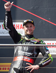 February 25, 2018 - Melbourne, Victoria, Australia - British rider Jonathan Rea (#1) of Kawasaki Racing Team celebrates after finishing second in the second race on day 3 of the opening round of the 2018 World Superbike season at the Phillip Island circuit in Phillip Island, Australia. (Credit Image: © Theo Karanikos via ZUMA Wire)