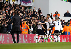 Danny Rose of Tottenham Hotspur celebrates scoring his sides second goal with his teammates - Mandatory byline: Robbie Stephenson/JMP - 28/02/2016 - FOOTBALL - White Hart Lane - Tottenham, England - Tottenham Hotspur v Swansea City - Barclays Premier League