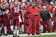 FAYETTEVILLE, AR - NOVEMBER 22:  Head Coach Bret Bielema of the Arkansas Razorbacks on the sidelines during a game against the Ole Miss Rebels at Razorback Stadium on November 22, 2014 in Fayetteville, Arkansas.  The Razorbacks defeated the Rebels 30-0.  (Photo by Wesley Hitt/Getty Images) *** Local Caption *** Bret Bielema