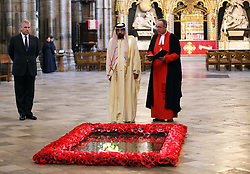 The President of the United Arab Emirates, Sheikh Khalifa bin Zayed Al Nahyan with the Very Rev Dr.John Hall, Dean of Westminster, at the Grave of the Unknown Warrior in Westminster Abbey, London,  on the second day of his state visit,  Wednesday 1st May 2013.  Photo by: Stephen Lock / i-Images