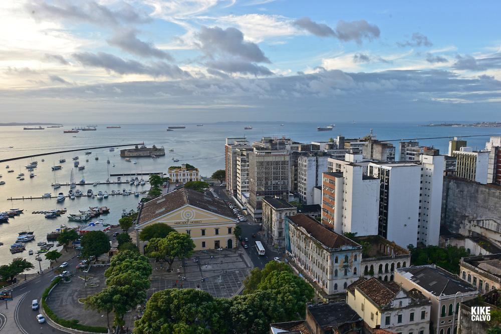 Mercado Modelo and a view of Salvador de Bahia Harbor.