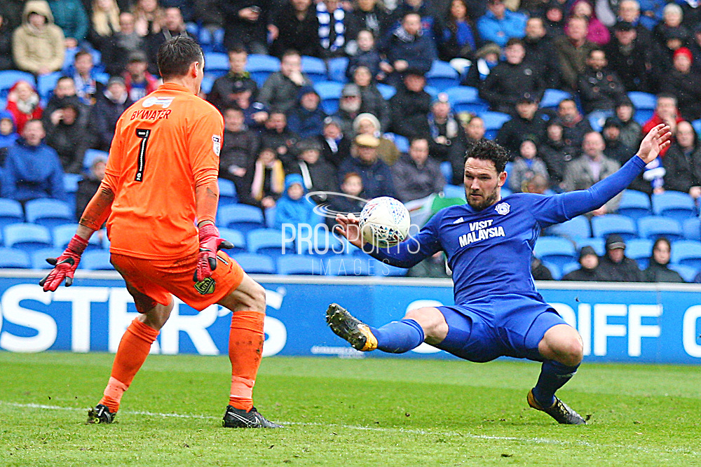 Cardiff City's Sean Morrison shoots at goal during the EFL Sky Bet Championship match between Cardiff City and Burton Albion at the Cardiff City Stadium, Cardiff, Wales on 30 March 2018. Picture by John Potts.