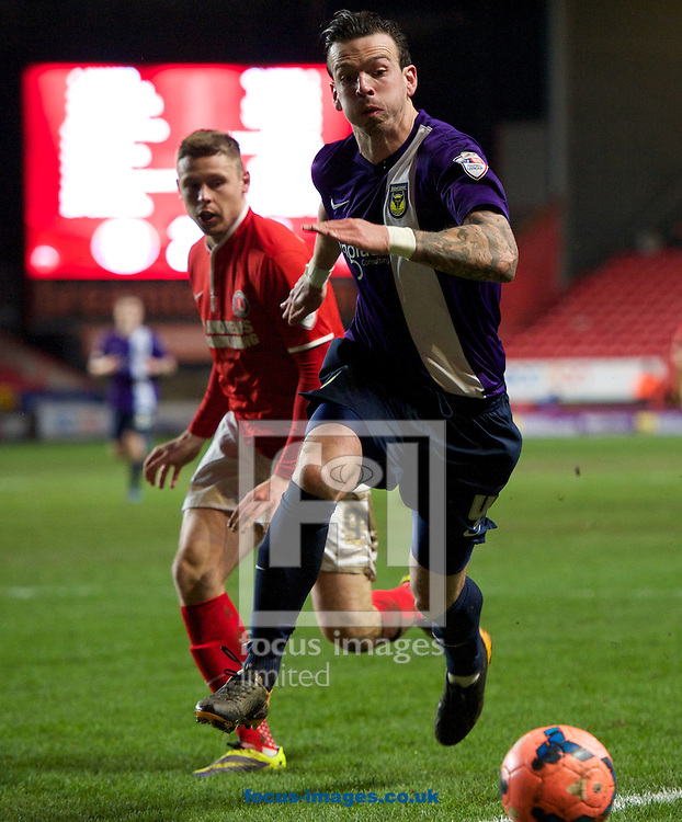 Picture by Alan Stanford/Focus Images Ltd +44 7915 056117<br /> 14/01/2014<br /> Simon Church of Charlton Athletic and Michael Raynes of Oxford United during the The FA Cup match at The Valley, London.