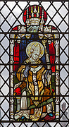 Stained glass window of a Bishop , Saint Thomas church, Salisbury, Wiltshire, England, Thanksgiving for Church restoration 1960-1985