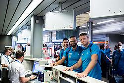 Aleksander Peric, Peter Rankovic and Miha Zupan of Slovenian deaf team before departure to 23rd Summer Deaflympics in Samsun, Turkey, on July 14, 2017 at Airport Joze Pucnik, Brnik, Slovenia. Photo by Vid Ponikvar / Sportida