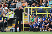 Ipswich Town manager Paul Lambert arms out during the EFL Sky Bet League 1 match between Burton Albion and Ipswich Town at the Pirelli Stadium, Burton upon Trent, England on 3 August 2019.