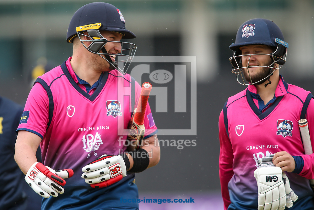 Josh Cobb of Northants Steelbacks (left) and Ben Duckett of Northants Steelbacks during the Royal London One Day Cup match at the County Ground, Northampton<br /> <br /> Picture by Andy Kearns/Focus Images Ltd 0781 864 4264<br /> 27/04/2017