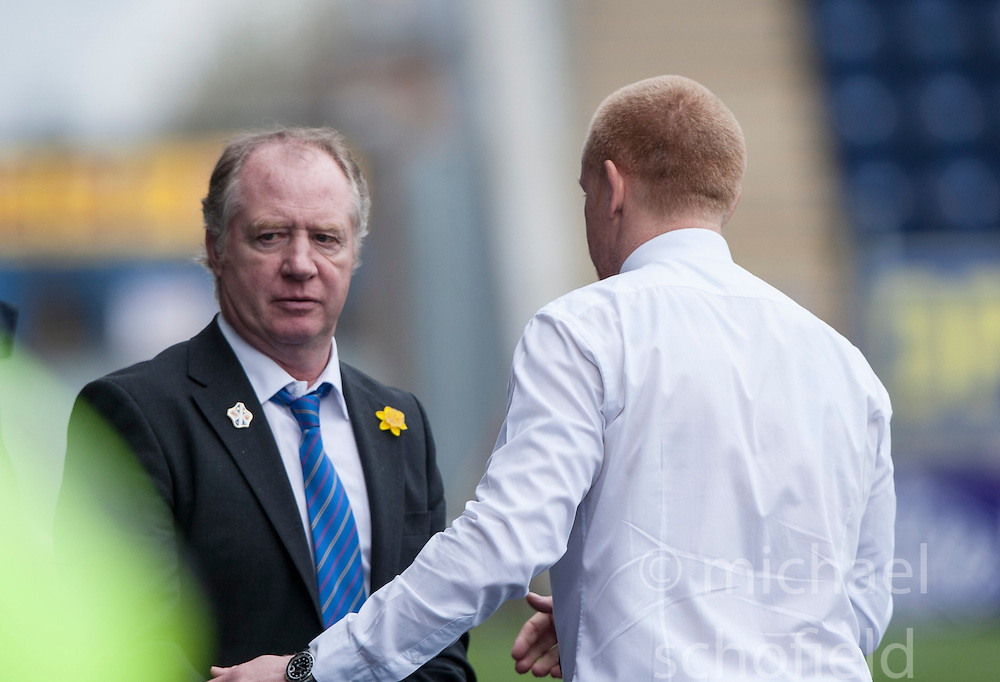 Cowdenbeath's manager Jimmy Nicholl and Falkirk's manager Gary Holt at the end.<br /> Falkirk 5 v 0 Cowdenbeath, Scottish Championship game played today at The Falkirk Stadium.<br /> &copy; Michael Schofield.