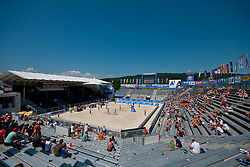 View on the main court at A1 Beach Volleyball Grand Slam tournament of Swatch FIVB World Tour 2011, on August 2, 2011 in Klagenfurt, Austria. (Photo by Matic Klansek Velej / Sportida)