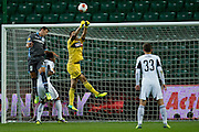 (C) Legia's goalkeeper Wojciech Skaba saves during the UEFA Europa League Group J football match between Legia Warsaw and Apollon Limassol FC at Pepsi Arena Stadium in Warsaw on October 03, 2013.<br /> <br /> Poland, Warsaw, October 03, 2013<br /> <br /> Picture also available in RAW (NEF) or TIFF format on special request.<br /> <br /> For editorial use only. Any commercial or promotional use requires permission.<br /> <br /> Mandatory credit:<br /> Photo by &copy; Adam Nurkiewicz / Mediasport