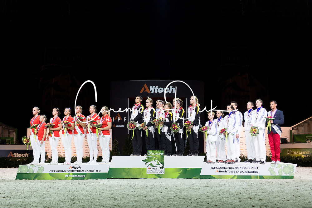 Podium - Squad Final Vaulting - Alltech FEI World Equestrian Games&trade; 2014 - Normandy, France.<br /> &copy; Hippo Foto Team - Jon Stroud<br /> 05/09/2014