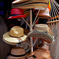 Straw Hats Display in Playa del Carmen, Mexico <br />