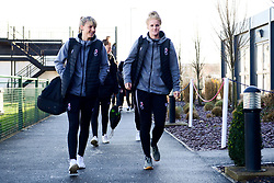 Gemma Evans of Bristol City and Jasmine Matthews of Bristol City arrives at Stoke Gifford Stadium prior to kick off - Mandatory by-line: Ryan Hiscott/JMP - 19/01/2020 - FOOTBALL - Stoke Gifford Stadium - Bristol, England - Bristol City Women v Liverpool Women - Barclays FA Women's Super League