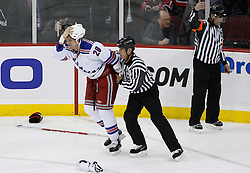 Feb 9, 2009; Newark, NJ, USA; New York Rangers right wing Colton Orr (28) skates to the penalty box after his fight against New Jersey Devils left wing Mike Rupp (17) during the second period at the Prudential Center.