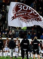 Fotball , 11 . november 2017 , kvalifisering  til Eliteserien / OBOS, <br /> Mjøndalen - Ullensaker/Kisa 3-1<br /> illusrasjon , 3050 , fan fans , flagg