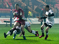 Rugby Union - 2019 / 2020 European Rugby Challenge Cup - Pool Two: Scarlets vs. Toulon<br /> <br /> ,Johnny McNicholl, of Llanelli Scarlets tackled by Julien Heriteau, of Toulon prior to their 1st try  at Parc y Scarlets, Llanelli.<br /> <br /> COLORSPORT/WINSTON BYNORTH