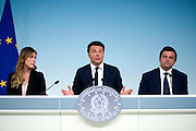 Rome may 10th 2016, cabinet meeting press conference. In the picture Maria Elena Boschi, Matteo Renzi, and Carlo Calenda, new minister of economic development