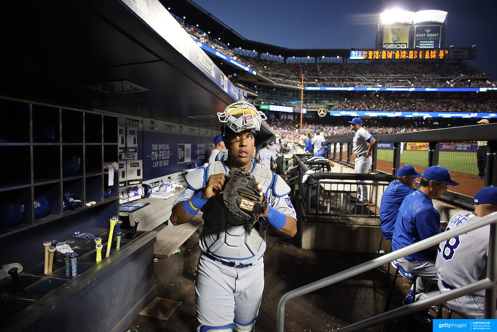 NEW YORK, NEW YORK - June 21: Catcher Salvador Perez #13 of the Kansas City Royals heads out of the dugout during the Kansas City Royals Vs New York Mets regular season MLB game at Citi Field on June 21, 2016 in New York City. (Photo by Tim Clayton/Corbis via Getty Images)