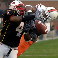 11 November 2006:  Miami University wide receiver Ryan Moore (85) cannot hold on to a pass in the end zone in the second quarter while being defended by the University of Maryland's Josh Wilson (4).  The Maryland Terrapins defeated the Miami University Hurricanes 14-13 at Byrd Stadium in College Park, Maryland.<br />