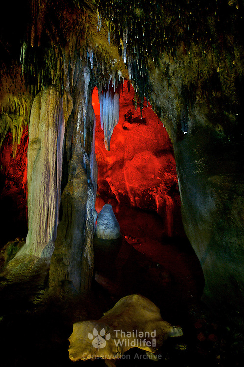 The stalagtite formations inside Tham Khao Bin or Khao Bin Cave in Thailand's Ratchaburi province.